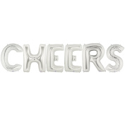 CHEERS Alphabet Word Balloons - Silver Foil Celebration Letters 100cm