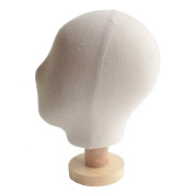Kukin Fabric covered mannequin head, Display head with wooden stand