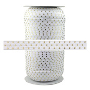 100 Yards - White Gold Dots 1.6cm - Fold Over Elastic - ElasticByTheYard