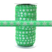 100 Yards - Silver Metallic Snowflake on Green 1.6cm Fold Over Elastic - ElasticByTheYard