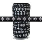 100 Yards - Silver Metallic Snowflake on Black 1.6cm Fold Over Elastic - ElasticByTheYard