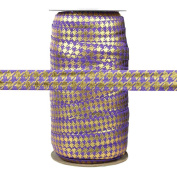100 Yards - Purple with Gold Metallic Houndstooth - 1.6cm Fold Over Elastic - ElasticByTheYard