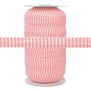 100 Yards - Peachy Pink Chevron on White - 1.6cm Fold Over Elastic - ElasticByTheYard