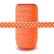 100 Yards - Orange with White Polka Dots - 1.6cm Fold Over Elastic - ElasticByTheYard