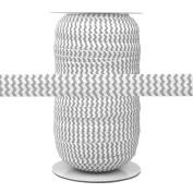 100 Yards - Light Grey Chevron on White - 1.6cm Fold Over Elastic - ElasticByTheYard