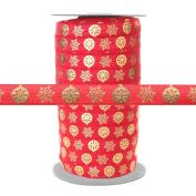 100 Yards - Gold Metallic Snowflake Ornaments on Red - 1.6cm Fold Over Elastic - ElasticByTheYard