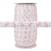 100 Yards - Breast Cancer Ribbon on White - 1.6cm Fold Over Elastic - ElasticByTheYard