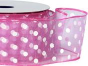 Pretty Pink w/ White Dots Ribbon 5.1cm - 1.3cm x 25 yds Wired 100% Nylon (5 Rolls) - WRAPS-52908
