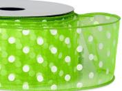 Citrus w/ White Polka Dots Ribbon 5.1cm - 1.3cm x 25 yds Wired 100% Nylon (5 Rolls) - WRAPS-52938