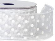 White w/ White Polka Dots Ribbon 5.1cm - 1.3cm x 25 yds Wired 100% Nylon (5 Rolls) - WRAPS-52901