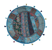 My Craft Palace Turquoise Round Floor Cushion Cover Handmade Sari Patchwork Floor Cushion Cover