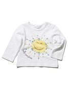 M & Co Baby Girl White Hello Sunshine Slogan Side Neck Button Long Sleeve Top