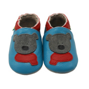 Sayoyo Baby Infant Toddler Grey Bear Soft Sole Leather Shoes