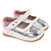 Little Blue Lamb Girls Squeaky Shoes Silver
