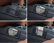 Kuber Industries Car accessories || Mobile phone car holder || Universal Car Net Holder Phone Holder Pocket Organiser String Bag (Black)-KI3261