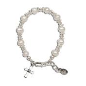 Precious Pieces Girl's Sterling Silver Cross Baptism Bracelet