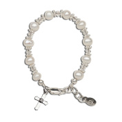 Precious Pieces Girl's Sterling Silver Cross Baptism Bracelet