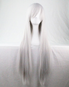 "Kissparts 32"" 80cm Silver White Straight Hair Cosplay Wig With Free Wig Cap and Comb"