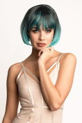 Bob wig, black blending to turquoise, chic