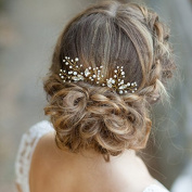 Aukmla Wedding Bridal Hair Pins - Crystal Pearl Hair Accessories with Rhinestones for Women and Girls