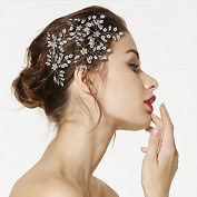 Aukmla Wedding Bridal Hair Pins - Crystal Pearl Silver Hair Barrettes for Women and Girls