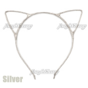 AngelaKerry 10pcs Silver Cat Ear Girl Metal Headbands Satin Ribbon Hairbands for Girl's Birthday Party DIY