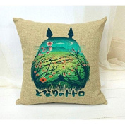 Totoro Linen Pillow with Removable Cover, for children and Parents - Multi-Coloured