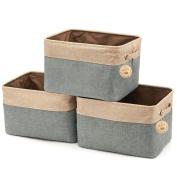 Ailina Collapsible Large Cotton Linen Clothing Storage Organiser Open Top Canvas Storage Boxes 38x27x24cm