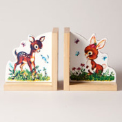 END - Baby Deer and Bunny Childrens Bookends - Multicoloured