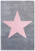 Rug Star Children Happy Rugs 80 x 150 cm, Grey/Pink