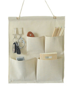 CaLeQi Linen/Cotton Fabric Wall Door Closet Hanging Storage Bag Case 4 Pockets with Hooks