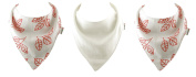 MuslinZ 3 Pack Baby Bamboo Organic Cotton Dribble Bibs. 2 layer muslin White and Coral Leaf