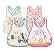 Meta-U® 4 Pack Three Layers Baby Crossover Straps Apron Drool Bibs