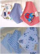 Bebedou Lovely Cotton Blue Cars Embroidered Bandana Bibs 6 Pack newborn gift pack super absorbent drool bibs , baby shower gifts , boys , girls, unisex
