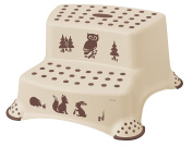 Forest Friends Childrens Toilet Training 21cm tall Double Step Stool - Coffee