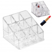 Women's Fashion Modern Stylish Clear Acrylic 9 Tube Lipstick Holder Cosmetic Makeup Organiser Box Case