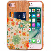 Cover Case For iPhone 7 12cm ,Saingace Lovely Shock Absorbent Fashion Wooden Flower Pattern Printed with Cards Slots Case Cover For iPhone7 12cm