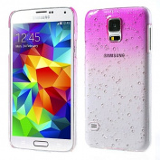 for for for for for Samsung Galaxy S5 Phone Raindrop Case Hard Back Cover Pink Clear+2 Screen Protector