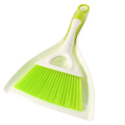 Plastic Windowsill Floor Cleaning Broom Brush Dustpan Set Beige Green