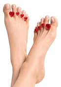 """Dip Into Pretty Silicone Toe Separators 8-Piece Spacers for Home and Salon Pedicures - """"Sweet Hearts"""" - Valentine Gem Design (Red) ..."""