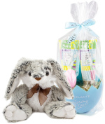 BRUBAKER Cosmetics Easter Gift Set with Shower Gel, Body Lotion, Bath-Fizzer and Plush Easter Bunny - Blue