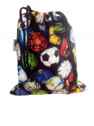 Kids Cotton Wash Bag Drawstring small - International Footballs on Black background