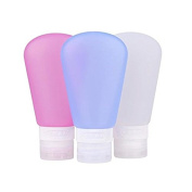 Travel Bottles Silicone Containers Set, Refillable & Squeezable Travel Containers for Shampoo, Lotion, Conditioner, Toiletries -【TSA Airline Carry-On Approved】White/Blue/Pink, 3oz/89ml, Set of 3 by GSD