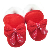 Kolylong Newborn Baby girl Bowknot short Soft Sole Boots Prewalker Warm Shoes