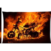 ghost rider motorbike burning fire flaming motorcycle flames Zippered Pillow Cases Cover 50cm x 80cm
