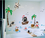 Zooarts Pirate Coco Monkey Bird Removable Wall Decals Art Vinyl Kids Child Room Nursery Mural