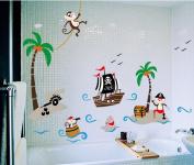 Zooarts Pirate Coco Monkey Bird Removable Wall Decals Art Vinyl Kids Child Room Nursery Mural