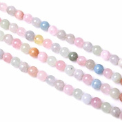 6mm-10mm Grade AA Natural Morganite Beads Multi Colour Semi-Precious Beads, Smooth Round 15.4 Inch Strand for Jewellery Making (GC15)