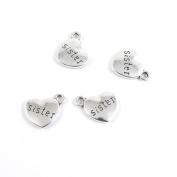 Price per Lot 10 PCS Jewellery Making Charms Antique Silver Tone Colour Jewellery Charme Findingss Bulk Wholesale Suppliers Arts Crafts P7BL5 Sister Love Heart