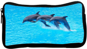 Rikki Knight Dolphin Trio in water Design Neoprene Pencil Case